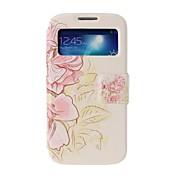 삼성 갤럭시 S4의 i9500를위한 대를 가진 분홍색 꽃 전신 가죽 케이스