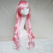 여성 인조 합성 가발 캡 없음 딥 웨이브 밝은 핑크 코스플레이 가발 의상 가발
