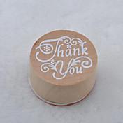 patrón de la vendimia palabra floral ronda sello de goma de madera (gracias)