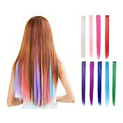 머리띠 확장 합성 섬유 9 인치 22inch 똑바로 분홍색 녹색 보라색 금발 금발 빨간 머리카락 조각에서 클립