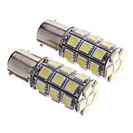 2PCS BAY15D 1156 27 LED SMD 5050 Car Cauda Parar Brake Ligue Luz de sinalização Branco 12V