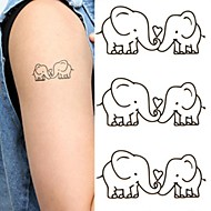 타투 스티커 - Non Toxic/허리 아래/Waterproof - 애니멀 시리즈 - 아이/아동/여성/남성/어른/Teen - 블랙/핑크/멀티 컬러 - 종이 - 1 pc - 6*10.5cm (2.36*4.13in) - Elephants