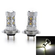 50W H4 / H11 / H1 / H7 / H3 Lâmpada de LED Smart 10 LED de Alta Potência 2000-3000 lm Branco Frio DC 12 / DC 24 V 2 pçs