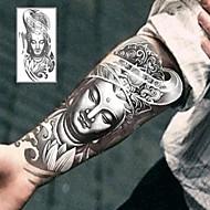 타투 스티커 - Non Toxic/허리 아래/Waterproof - 기타 - 아동/여성/남성/어른/Teen - 그레이/블랙 - 종이 - 1 - 12*19cm (4.7*7.5in) - Bodhisattva Buddha
