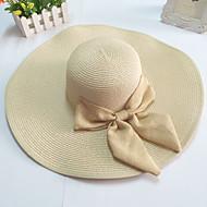 φαρδύ γείσο ψάθινο καπέλο τόξο δισκέτα γυναικών