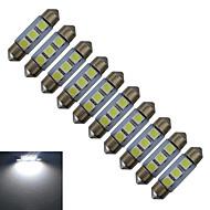 Jiawen® 10pcs festoon 36mm 0.5w 3x5050smd 60lm luz de leitura branca legal levou luz do carro (dc 12v)