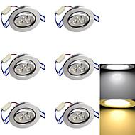 3W Χωνευτό Φως 3 LED Υψηλης Ισχύος 280 lm Θερμό Λευκό / Ψυχρό Λευκό Διακοσμητικό AC 85-265 / AC 220-240 / AC 110-130 V 6 τμχ