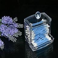 helder acryl wattenstaafje box wattenstaafje opslaghouder nieuw ontwerp cosmetische make-up tool vrouwen opbergdoos met deksel