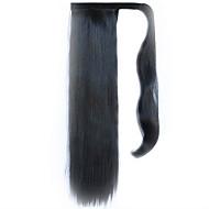 fekete 60cm szintetikus magas hőmérsékletű vezetékes paróka egyenes haj lófarok színe 2