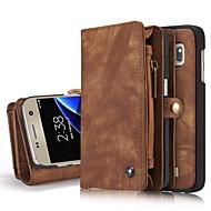 Varten Lomapkko Korttikotelo Tuella Flip Etui Kokonaan peittävä Etui Yksivärinen Kova Aito nahka varten Samsung S8 S8 Plus S7 edge S7