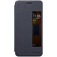 용 윈도우 자동 슬립/웨이크 기능 플립 반투명 케이스 풀 바디 케이스 단색 하드 인조 가죽 용 Huawei 화웨이 메이트 (9) 프로