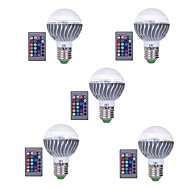 5pcs 3W E27 RGB LED Bulb Color Changeable RGB LED Lamp With IR Remote Control for Home and KTV AC85-265V