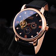 Męskie Zegarek na nadgarstek zegarek mechaniczny Nakręcanie automatyczne Wodoszczelny Skóra Pasmo Błyszczące Ekskluzywne Czarny Brązowy