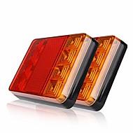 Ziqiao 2pcs 8 leds carro caminhão traseira luz traseira luzes de aviso lâmpadas traseiras refreios impermeáveis peças traseiras para
