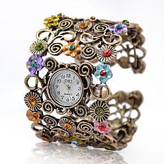 Kadın's Moda Saat Bilezik Saat Quartz Alaşım Bant Eski Tip Çiçekli Halhal Zarif Bronz