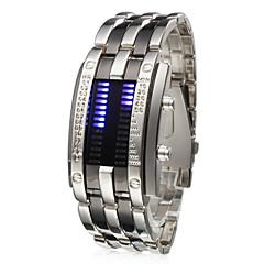 Αντρικά Μοναδικό Creative ρολόι Ρολόι Καρπού Ψηφιακό LED Ημερολόγιο Ανοξείδωτο Ατσάλι Μπάντα Ασημί Ασημί