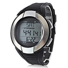 Herre Sportsur Digital LCD Pulsmåler Kalender Kronograf Vandafvisende alarm Silikone Bånd Sort