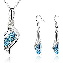 Mulheres Conjunto de Jóias Brincos Compridos Colares com Pendentes Brinco Cristal Gemas Moda Elegant bijuterias Cristal Zircônia Cubica