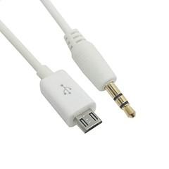 Galaxy s5 i9600 için stereo 3.5mm erkek araba aux çıkış kablosu 50cm mikro usb erkek& Note3 n9000 beyaz renk