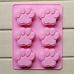 Pfote Formkuchen Eis Gelee Schokoladenformen 6-Loch-Katze, Silikon 18,5 × 14,1 × 1,6 cm (7,3 × 5,6 × 0,6 cm)