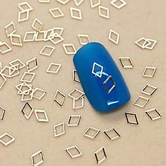 200st ihålig diamant form gyllene metall skiva nagel konst dekoration