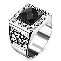 Męskie Damskie Duże pierścionki Miłość Osobiste biżuteria kostiumowa Stal nierdzewna Akrylowy Imitacja diamentu Square Shape Geometric