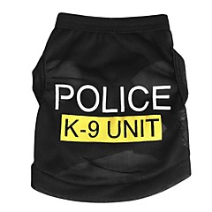 katten honden T-shirt Hondenkleding Zomer Lente/Herfst Politie/militair Schattig Modieus Zwart Blauw Roze
