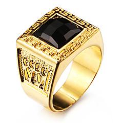 Męskie Duże pierścionki Kamień szlachetny Naturala czerń Miłość Osobiste biżuteria kostiumowa Stal nierdzewna Akrylowy Pozłacane 18K złoty