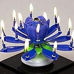 플라스틱 회전 음악 생일 꽃 촛불