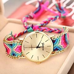 Damskie Modny Zegarek na bransoletce Kwarcowy Tkanina Pasmo Artystyczny Wielokoloroe Czerwony Green Niebieski Różowy