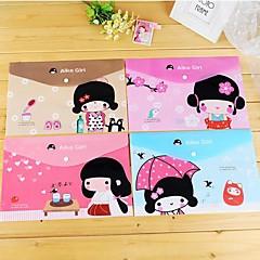 일본 소녀 패턴 플라스틱 A4 파일 가방 (1 개 색상 랜덤)
