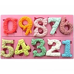 groot formaat 0-9 aantallen vormige fondant cake chocolade siliconen mal sm-318
