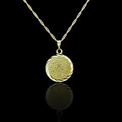 18K 진짜 금은 알라 이슬람 동전 펜던트 2 * 3cm 도금