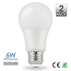 ZDM ™ 2szt vanlite E27 6W 500lumen doprowadziły a60 lampy dla domu ciepły biały, biały naturalny wyboru oszczędzania energii (AC220-240V)