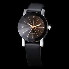 Masculino Mulheres Casal Relógio Elegante Relógio de Moda Relógio de Pulso Quartzo Strass imitação de diamante PU Banda Preta Preto
