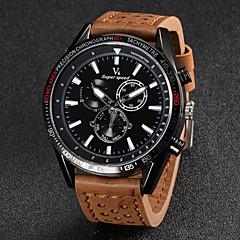 V6 Męskie Zegarek na nadgarstek Kwarcowy Kwarc japoński Skóra Pasmo Czarny Brązowy Khaki White Black Brown Khaki