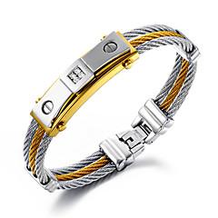 Férfi Lánc & láncszem karkötők Hip-Hop Többrétegű Személyre szabott luxus ékszer jelmez ékszerek Rozsdamentes acél Arannyal bevont 18K