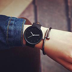 남성용 여성용 커플용 패션 시계 석영 캐쥬얼 시계 가죽 밴드 미니멀리스트 블랙