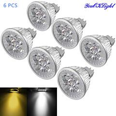 Youoklight® 6db mr16 4w dimmable 4 ledes spotlámpa meleg fehér / hideg fehér fény 3000 / 6000k 320-350lm (dc 12v)