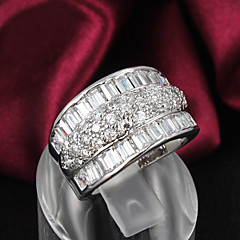 Damskie Obrączki biżuteria kostiumowa Srebro standardowe Cyrkon Kryształ górski Posrebrzany Biżuteria Na Ślub Impreza Codzienny Casual
