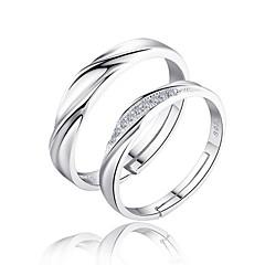 Férfi Női Páros gyűrűk Karikagyűrűk Szerelem Menyasszonyi Ezüst Cirkonium Circle Shape Ékszerek Kompatibilitás Esküvő Parti Napi