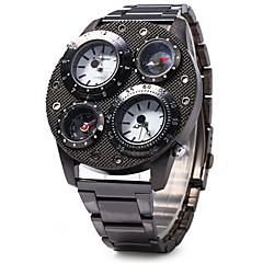 SHI WEI BAO Férfi Katonai óra Compass Hőmérő Három időzóna Kvarc Rozsdamentes acél Zenekar Menő Luxus Fekete