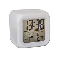 7 색 큐빅 디지털 알람 시계 달력 온도계 (흰색, 4xaaa)에 빛나는 주도