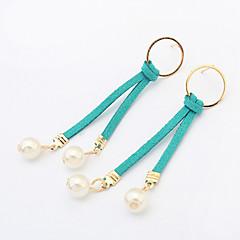 Druppel oorbellen Ring oorbellen Modieus Europees Imitatieparel Leder Cirkelvorm Zwart Grijs Blauw Khaki Sieraden VoorFeest Dagelijks