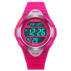 SKMEI Børn Sportsur Digital Watch Digital LCD Kalender Kronograf Vandafvisende alarm Selvlysende Stopur Gummi Bånd Sort Blåt PinkSort Blå