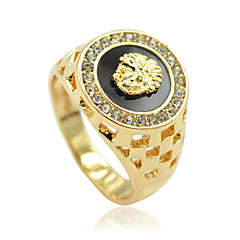 Męskie Damskie Duże pierścionki Osobiste luksusowa biżuteria biżuteria kostiumowa Kryształ górski Stop Animal Shape Lew Biżuteria Na