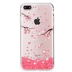 Na iPhone 8 iPhone 8 Plus iPhone 7 iPhone 7 Plus Etui Pokrowce Stras Przezroczyste Etui na tył Kılıf Kwiaty Miękkie Poliuretan