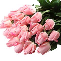 12pcs/Set 12 Κλαδί Πλαστικό / Ρεάλ αφής Τριαντάφυλλα Λουλούδι για Τραπέζι Ψεύτικα λουλούδια 23.6 inch
