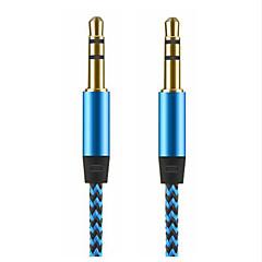 erkek 1m altın 3.5mm jak ses kablosu naylon kabel erkek aux teleferik 3.5mm araba iphone samsung için fiş aux kablosu kaplama