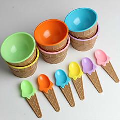 plastikowe miski łyżki lodów dla dzieci ustawione trwałe lody filiżankę (losowy kolor)